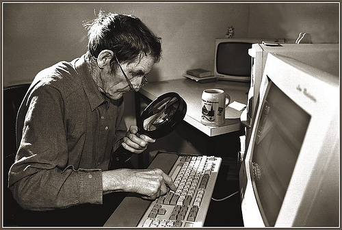 Old Man at Computer