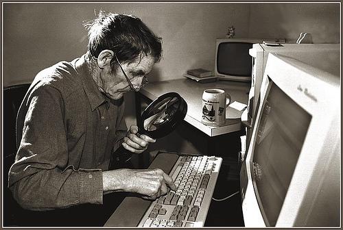 Old Man at Computer